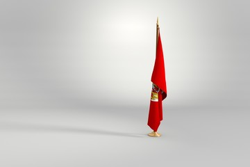 Soviet Union isolated flag on a wooden mast 3d illustration