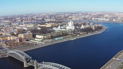 Flying near of River Neva in Center Saint-Petersburg, aerial