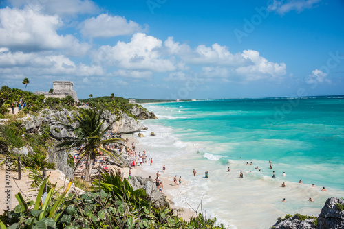 TULUM, MEXICO - DECEMBER 22: Ancient Mayan Ruins near the Caribb