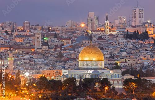Jerusalem - Outlook from Mount of Olives to old city at dusk