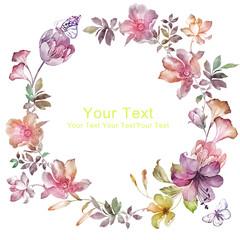 watercolor floral illustration collection. flowers arranged un a