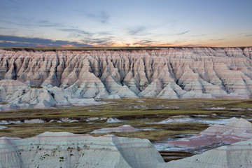 Scenic sunset view of the South Dakota badlands