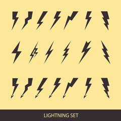Lightning set on yellow. Huge vector icon set