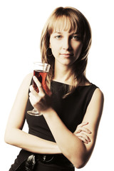 Young beautiful fashion woman with a wine glass