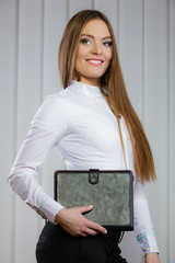 Elegant woman with briefcase