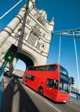 London bus on Tower Bridge in London