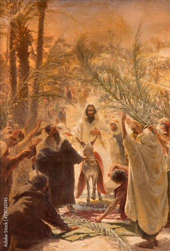 canvas print picture Paint of entry of Jesus in Jerusalem (Palm Sanday).