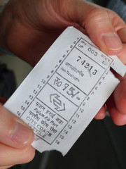 Close up of a public bus ticket in India