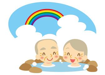 夏 温泉を楽しむ老夫婦