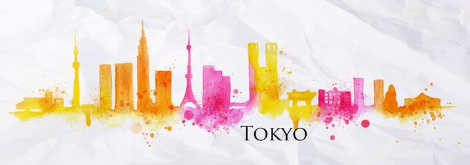 Silhouette watercolor Tokyo
