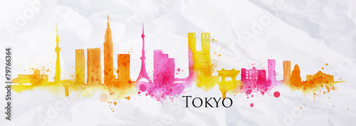 Silhouette watercolor Tokyo - 79766364