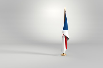 Czech Republic isolated flag on a wooden mast 3d illustration