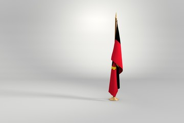 Angola isolated flag on a wooden mast 3d illustration