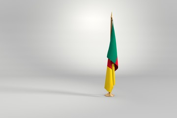 Cameroon isolated flag on a wooden mast 3d illustration
