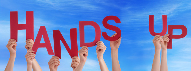 People Hands Holding Red Word Hands Up Blue Sky