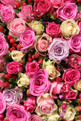 Wedding flowers in various shades of pink