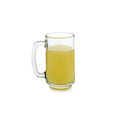 glass of pineapple juice isolated on white background