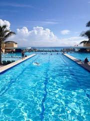 outdoor lap swimming pool