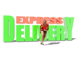 express delivery text and running woman in sport wear