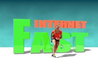 teen girl in sport wear run out from fast internet words