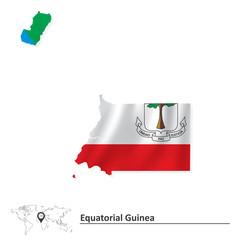 Map of Equatorial Guinea with flag