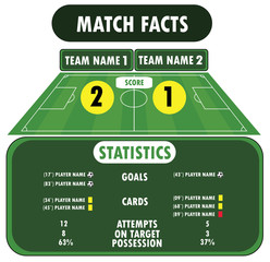 Soccer match infographic elements. Flat design.
