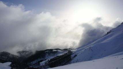 Snow Mountains, Clouds Timelapse. Caucasus