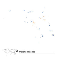 Map of Marshall Islands with flag