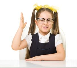 Little schoolgirl isolated