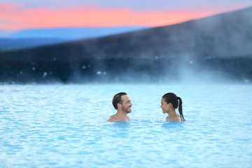 Iceland hot spring geothermal spa romantic couple