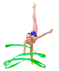 Girl engaged art gymnastic