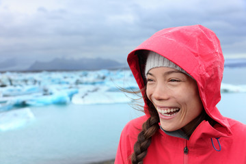Outdoors Woman in hardshell jacket on Iceland