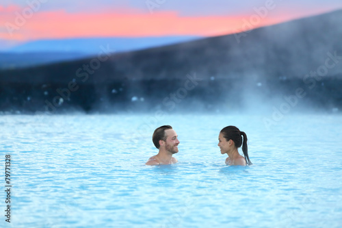 Iceland hot spring geothermal spa romantic couple - 79771328