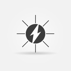 Solar energy black vector icon