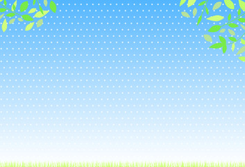 青空と緑 ドット背景