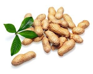 Pile of dry roasted peanuts isolated on white background.