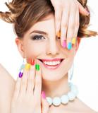 Woman applying makeup - 79774786