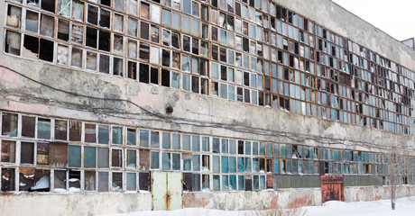 background of old broken windows