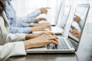 Business people working hand on laptop