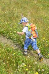 kleiner Mann marschiert im Grünen