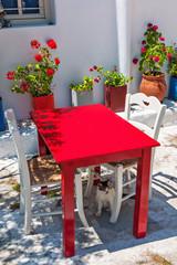 Typical tavern terrace in Mykonos