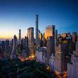 New York city, amazing sunrise over central park and upper east