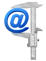 Concept of email symbol and measuring tool (caliper)