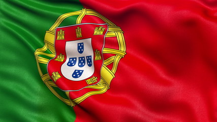 Flag of Portugal waving in the wind. Seamless loop.
