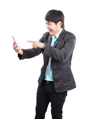 portrait of young asian business man pointing hand to smart phon