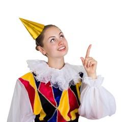 Funny Clown Girl pointing finger.