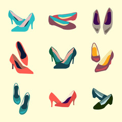 Sping and Summer Shoes Icon Set
