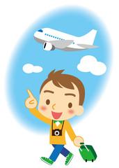 飛行機で旅行 若い男性