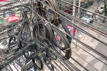 Messy electrical cables in Bangkok - Optical fiber technology