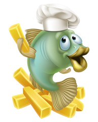 Fish and chips chartoon chef